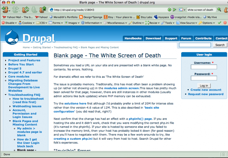 The White Screen of Death - explained