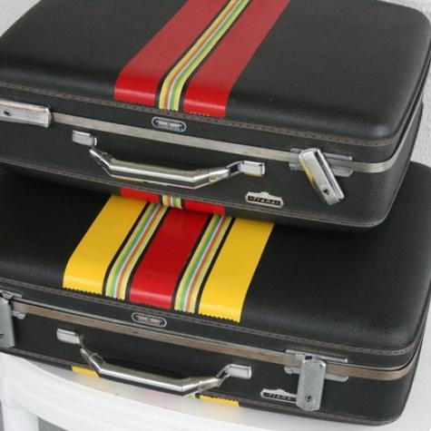 Super cool handpainted vintage luggage by GetReadySetGo