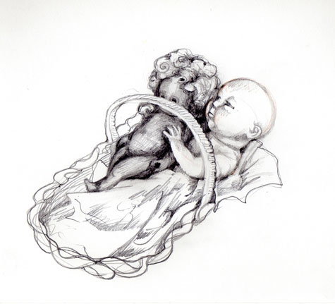 Brothers and Sisters: Graphite drawing on paper by Meredith Cutler
