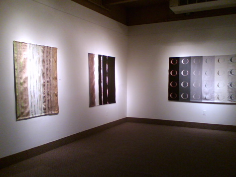 Jacquard woven fabric panels by Laura Shirreff at the Krause Gallery