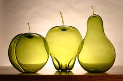 Monochromatic Fruit Set by Revo on Etsy - Blown glass fruit
